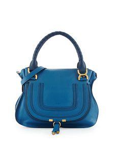 V282L Chloe Marcie Medium Shoulder Bag, Cobalt