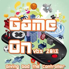 This is the logo for the Game On VBS!  Take the digital adventure into David's life and one of your own when you give God the controller!