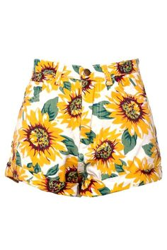 Sunflower Print High Waist Denim Shorts in White...totally getting Babysitter's Club movie vibes.