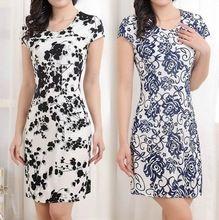 2015 mulheres Casual imprimir Floral Mini vestido de verão nova moda de manga curta o-pescoço Plus Size uma linha de uma peça L-4XL ZB1061(China (Mainland))