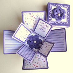 Exploding Box Purple Floral Mothers Day Card by BGardenCreations