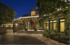 Contemporary farmhouse house exterior with tin roof and wood columns WARM Texas House Plans, Tuscan House Plans, Country House Plans, Luxury Mediterranean Homes, Mediterranean House Plans, Hill Country Homes, Country House Design, Limestone House, Luxury Floor Plans
