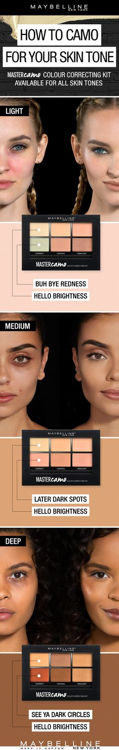 Bye-bye redness. Later dark circles. Say hello to Maybelline's new Master Camo Colour Correcting Kits. All you need to know is your skin tone. EXPLORE MORE https://www.maybelline.ca/en-ca/makeup-trends/master-camo-color-correcting-kit