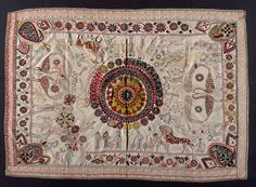 quilts Cotton and wool thread embroidery on plain-weave cotton 78 x 55 in. x cm). LA County Museum of Art public domain collection. Kantha Quilt, Century Textiles, Wool Thread, Kantha Stitch, Indian Embroidery, Running Stitch, Arte Popular, Quilt Making, Textile Art