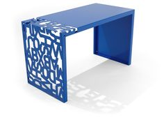 I love this table by .: MaBele :.  Cut from a single metal sheet, then laser engraved and folded. Beautiful!