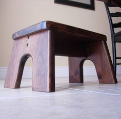 Step Stool Wooden Wood Alder Stained Dark Walnut Kids Tip-Resistant Stepstools Children Furniture Stool Step Sturdy Quality Step Stool Kids Small Woodworking Projects, Wood Projects, Metal Step Stool, Step Stools, Diy Stool, Wood Steps, Dark Walnut Stain, Walnut Finish, Woodworking Inspiration