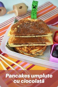 Reteta de pancakes, lasand la o parte cercul de ciocolata, este reteta de baza pentru pancakes sau clatite americane, cea pe care o folosesc pur si simplu. In reteta de baza veti vedea ca sunt 50g zahar. Nu este mult, avand in vedere ca ies 12 pancakes mici sau 6 pancakes mari. Sugestia mea este, insa, daca faceti Pancakes umplute cu ciocolata sa renunati la zaharul din compozitie, mai ales daca faceti pancakes pentru cei mici. Pancakes, Brunch, Treats, Breakfast, Food, Drinks, Sweets, Sweet Like Candy, Morning Coffee
