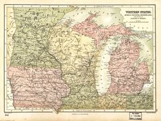 Wisconsin Illinois Antique Map Vintage By Craftissimo On Etsy - Map of wisconsin and minnesota