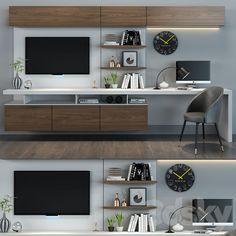 Tv Cabinet Design, Tv Wall Design, Desk In Living Room, Living Room Decor, Living Rooms, Home Room Design, Home Office Design, Bedroom Tv Wall, Wall Tv