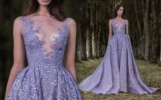 """Lavender illusion wedding dress with plunging neckline by Paolo Sebastian // Beautiful couture wedding gown inspiration from Paolo Sebastian's Autumn Winter """"Gilded Wings"""" collection Paolo Sebastian, Evening Dresses, Prom Dresses, Wedding Dresses, Dresses 2016, Haute Couture Dresses, Beaded Prom Dress, Ball Gowns Prom, Sexy Party Dress"""
