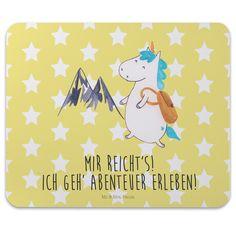 Mauspad Druck Einhorn Bergsteiger aus Naturkautschuk  black - Das Original von Mr. & Mrs. Panda.  Ein wunderschönes Mouse Pad der Marke Mr. & Mrs. Panda. Alle Motive werden liebevoll gestaltet und in unserer Manufaktur in Norddeutschland per Hand auf die Mouse Pads aufgebracht.    Über unser Motiv Einhorn Bergsteiger  Das Bergsteiger-Einhorn ist das perfekte Geschenk für alle abenteuerlustigen und verträumten Menschen. Als Geschenk kurz vor dem anstehenden Urlaub oder als Postkarte von einer…