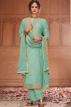 Order this Aqua Green color beautiful Palazzo Suits online which can be customized up to 58 Inches chest size and the style of this dress is Festival Wear,Party Wear which needs First Wash Dry Clean Only for wash care The dress is made Banarsi Jacquard fa Style Palazzo, Palazzo Dress, Lehenga Style, Lehenga Choli, Pakistani Suits, Pakistani Dresses, Salwar Kameez, Art Marron, Costume Vert