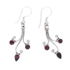 Drop earrings with Garnet gemstone round and marquise shape  Silver 925
