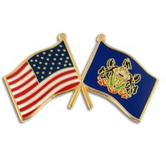 PinMartu0027s Pennsylvania And USA Crossed Friendship Flag Enamel Lapel Pin.More  Info For Jewelry Pins