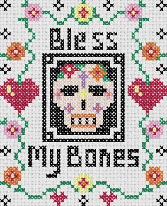 Bless My Bones Cross Stitch Sampler pattern on Craftsy.com from Busy Crow Studio
