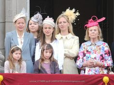 Trooping the Colour: Lady Helen Taylor, Zenouska Mowatt, Lady Amelia Windsor, possibly Lady Nicholas Windsor, Duchess of Kent, and in front Eloise and Estella Taylor