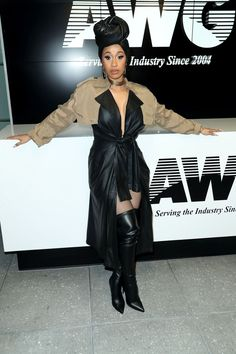 Cardi B looking totally chic in leather at Alexander Wang.