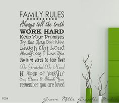 Family Rules Wall Decal by GroveMillsGraphics on Etsy, $40.00