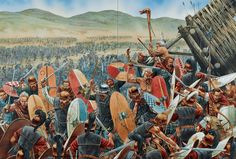 Julius Caesar's stepping stones : Alesia - Celtic relief force attacks the outer ring of the Roman besiegers camp. Roman Warriors, Celtic Warriors, Historical Art, Historical Pictures, Military Art, Military History, Ancient Rome, Ancient History, Battle Of Alesia
