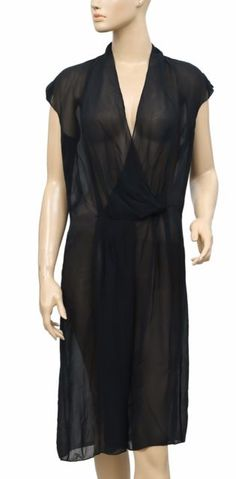 148785 New Innamorato V Neck Sleeveless Sheer Navy Silk Dress Medium M | eBay
