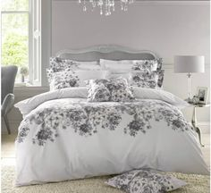 "The latest designs from the Holly Willoughby bedding collection for Spring Summer 2017.  This ""Chloe"" white & grey floral bedding design is just SO SO gorgeous, it is sure to be a hit!!"