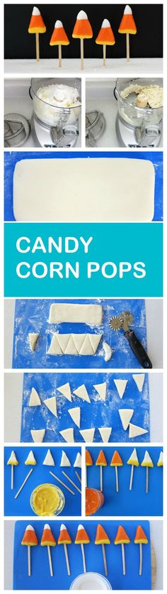 Sweet little candy pops made to look and taste like candy corn. A tasty Halloween treat!