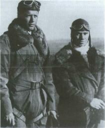 Charles Lindbergh and Phil Love on the first Chicago-Springfield-Peoria air-mail run, April 15, 1926.