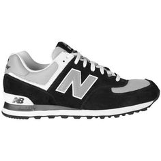 Cheap Online New Balance 574 Mens Laced Suede & Mesh Trainers Charcoal/Silver/White UK Online Store