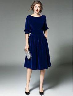 Blue Lantern Sleeve O-neck Skater Dress – Women Fashion Modest Fashion, Fashion Dresses, Blue Velvet Dress, Velvet Dresses, Velvet Midi Dress, Elegantes Outfit, Moda Vintage, Trendy Dresses, Cheap Dresses