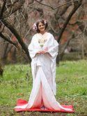 白無垢2055「緞子 白パステル 枝垂桜に牡丹と菊」/レンタル和装