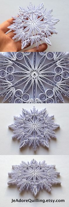 Quilled Snowflakes Paper Quilling Art Christmas Tree Decor Winter Hanging Ornaments Gifts Toppers Fillers Office Corporate White Blank