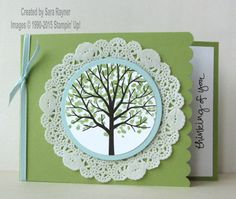 Sheltering tree doily card, using supplies from Stampin' Up! www.craftingandstamping.com #stampinup