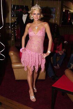 Paris Hilton's 20 Most Iconic Looks, From Juicy Couture to Rhinestones Black Slip Dress, Pink Dress, Cabana, Paris Hilton Style, Who Is Paris Hilton, Evolution, Low Waist Jeans, Rhinestone Dress, 2000s Fashion