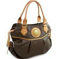 Designer Style Hobo bag with fashion 2-tone print  & lion emblem - FREE SHIPPING