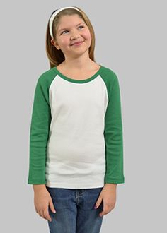 MONAG Long Sleeve Raglan Tee White/Kelly Green Ring Spun Combed Cotton super Soft, Baby Rib Long Raglan Sleeves Double neddle stitch hem on sleeves and bottom Double Needle Binding Neck Embroidery Blanks, Blank T Shirts, Raglan Tee, Toddler Girl, Boy Or Girl, Girl Outfits, Maternity, Tees, T Shirts