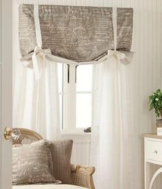 Parisian Note Lined Tie Up Valance   Country Curtains®