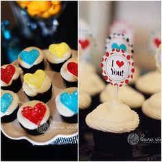 valentine heart cupcakes and toppers