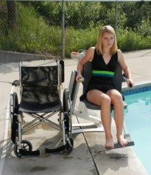 http://www.handiramp.com/pro-pool-lift.htm  The Pro Pool(TM) is a specialty pool product used to provide handicap access to aquatic therapy, residential, and commercial water recreation.    When not in use, the Pro Pool(TM) does not intrude into the pool, and its unique design makes it ADA compliant and very easy to operate. Looking to keep your deck clear and anchor free? Incorporating our Portable Kit will allow you to place the Pro Pool(TM) Lift almost anywhere on the deck!