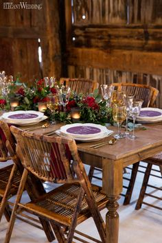 Rustic Burgundy Barn Wedding. Rustic Wedding Table Setting ... & Rustic Industrial Wedding Ideas | Wedding table settings Wedding ...