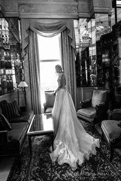 alessandra rinaudo 2017 bridal long sleeves round neck lace heavily embellished bodice drop waist elegant a  line wedding dress lace back long train (brunilde) bv