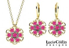 Charming Jewelry Set: Pendant and Earrings by Lucia Costin with Twisted Lines and Sterling Silver Middle Flowers, Dots and Fuchsia Swarovski Crystals; 14K Yellow Gold over .925 Sterling Silver; Handmade in USA Lucia Costin. $110.00. Beautifully designed with fuchsia Swarovski crystals. Unique and feminine, perfect to wear for special occasions and evenings. Produced delicately by hand, made in USA. Jewelry set by Lucia Costin. Delicate floral design