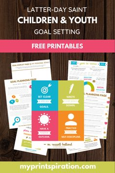 I am so excited to start the new children and youth goal-setting program beginning next year! To go along with the new initiative, I ha. Primary Activities, Activities For Girls, Summer Activities, Group Activities, Activity Day Girls, Activity Days, Activity List, Goals Printable, Free Printables