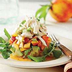 Crab Salad with Peaches and Avocados -  The crab salad can be made ahead, but the avocado and peach layers are best prepared just before serving.
