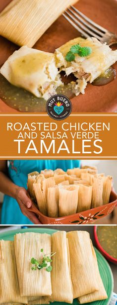 This is the perfect stress-free rotisserie chicken and salsa verde tamales to prepare during the holidays. With Thanksgiving around the corner these tamales can also be made with leftover shredded turkey. Packaged like a small gift waiting to be unwrapped, tamales are one of Mexico's most popular party foods. There are many steps involved in tamal making but the process is actually easy. Host a tamalada (tamal-making party) and gather a few friends to help with the assembling.