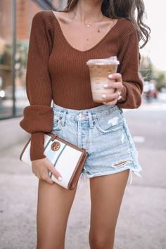 I can wear this sweater with white pants come fall but it looks great with denim shorts righ tnow! Spring Summer Fashion, Autumn Fashion, Southern Curls And Pearls, Fall Transition Outfits, Fall Sweaters, White Pants, Denim Skirt, Fall Outfits, Style Inspiration