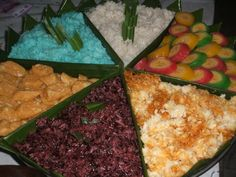 Traditional snacks - cassava - coconut - gluetineous rice - flour - bananas etc