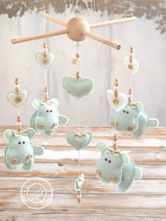 Mint Baby Mobile Hearts & Animals Nursery Decor by LollyCloth