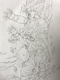 Goku y Gohan Dragon Ball Gt, Goku Drawing, Ball Drawing, Manga Drawing, Goku And Gohan, Z Tattoo, Anime Character Drawing, Anime Tattoos, Z Arts
