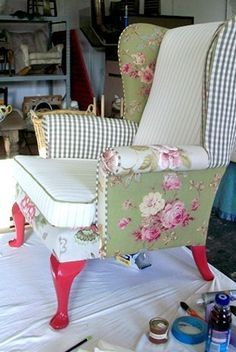 Reupholstered chair in a patchwork effect from Curious Upholstery.I like the colors.I would have to go with different choices. Types Of Furniture, Funky Furniture, Furniture Projects, Rustic Furniture, Furniture Makeover, Painted Furniture, Furniture Design, Repurposed Furniture, Patchwork Chair