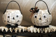 I really want to make these pumpkins!! someone needs to remind me to do these :)  20 Mod Podge Halloween craft tutorials. ~ Mod Podge Rocks!